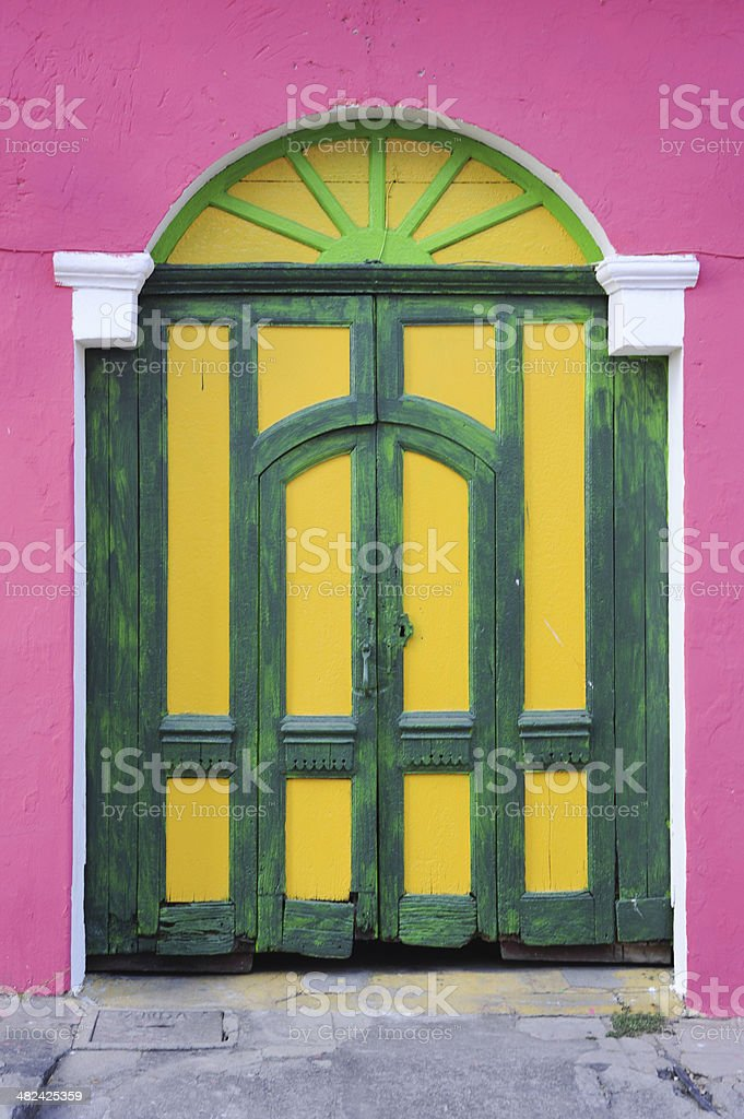 Colorfull front door at Suchitoto stock photo