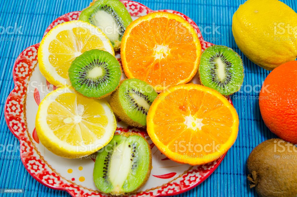 Colorfull fruit dessert on a plate royalty-free stock photo