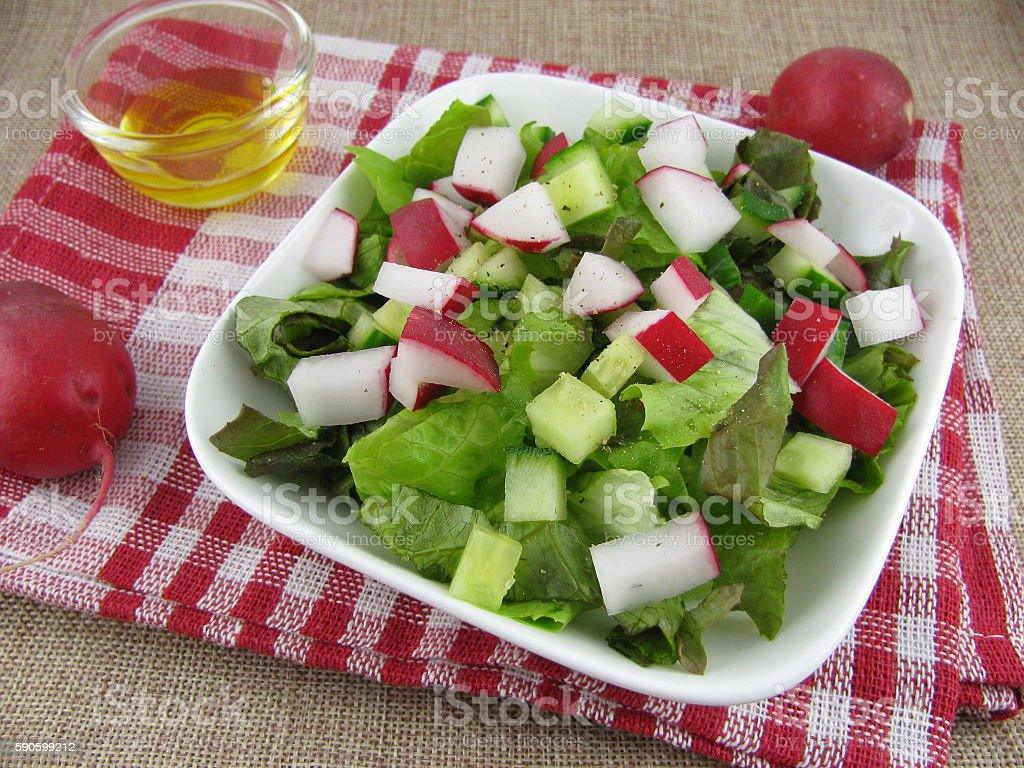 Colorfull salad variation with linseed oil stock photo
