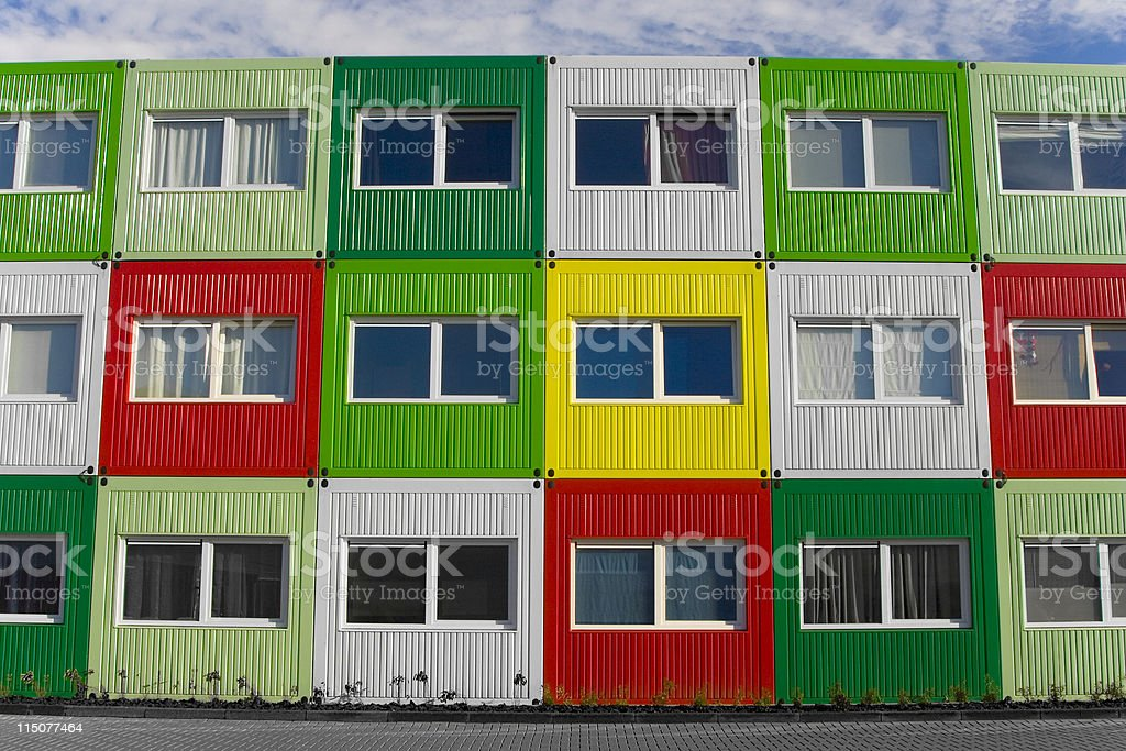Colorfull seacontainers transformed to student housing royalty-free stock photo