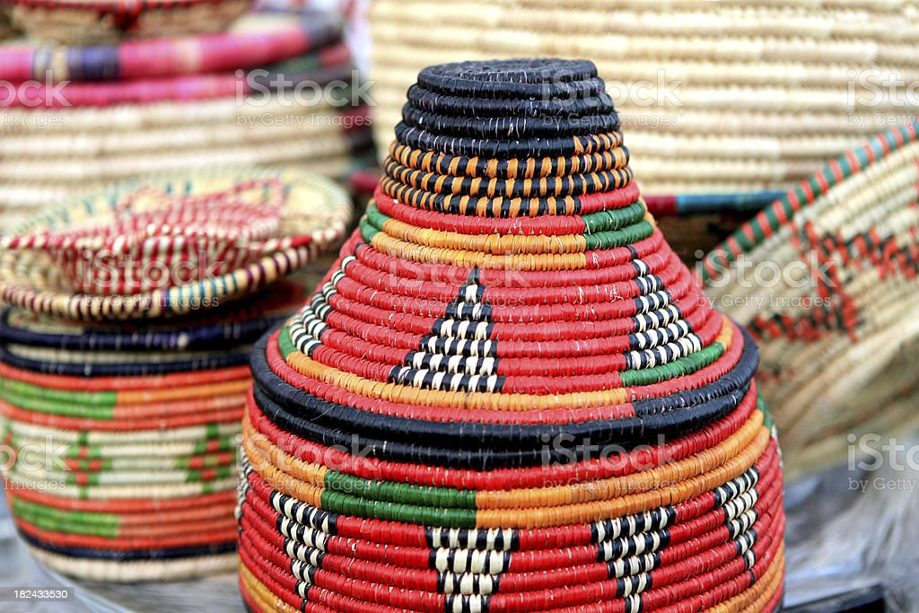 colorfull straw basket royalty-free stock photo
