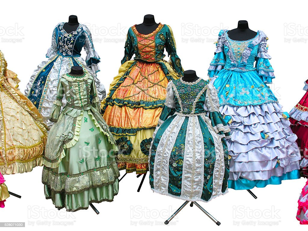 Colorfull stylized woman medieval costume clothes isolated stock photo