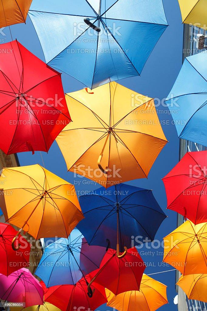 Colorfull umbrellas stock photo