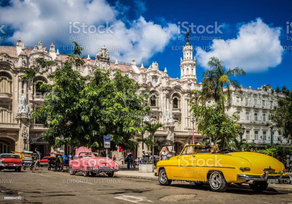 Colorfully american convertible vintage cars in Havana Cuba stock photo