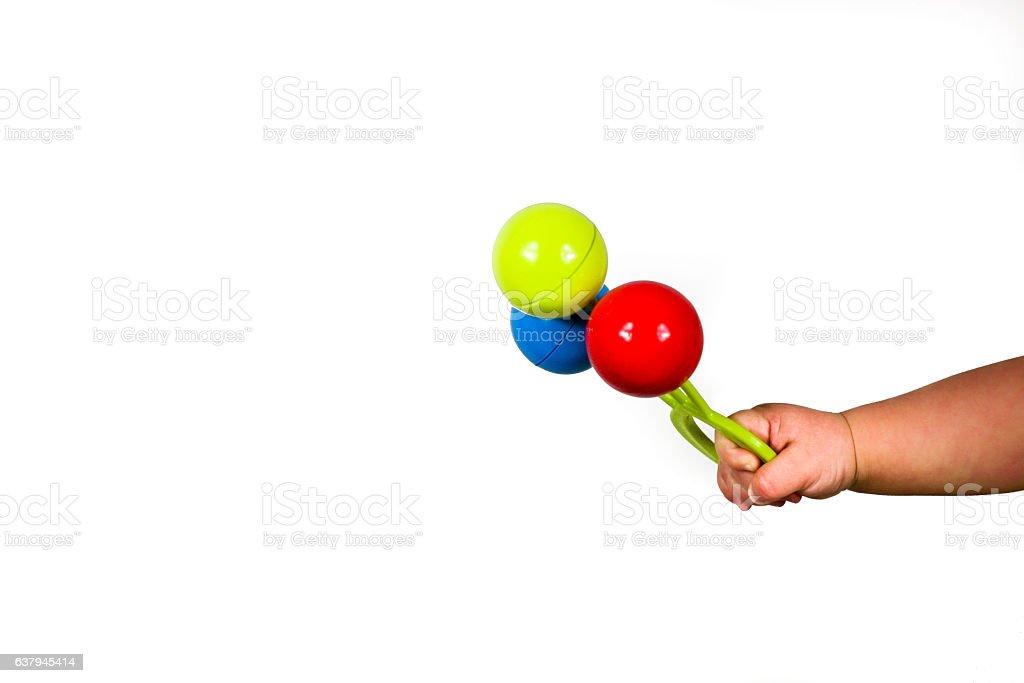 Colorido sonajero bebé juguete stock photo