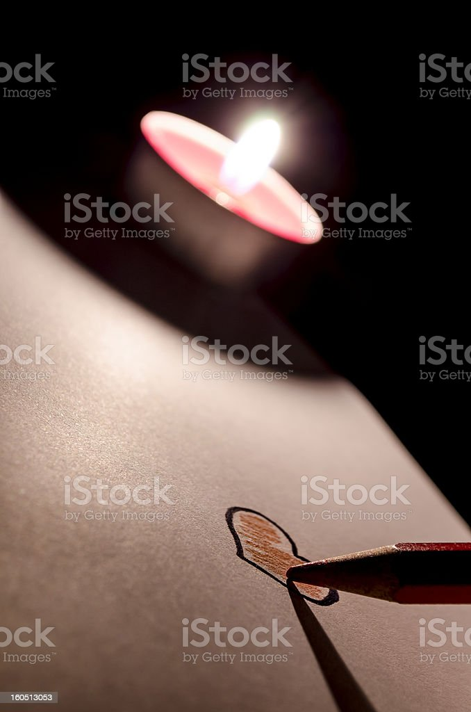 Coloring a heart by candle light royalty-free stock vector art