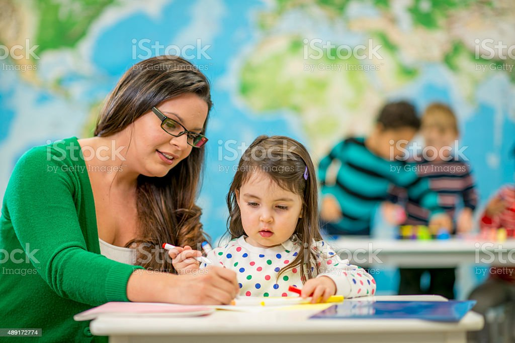 Coloring a Picture Together stock photo