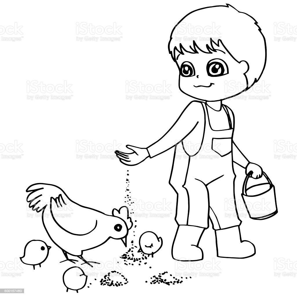 Coloring book  child feeding chicken vector stock photo