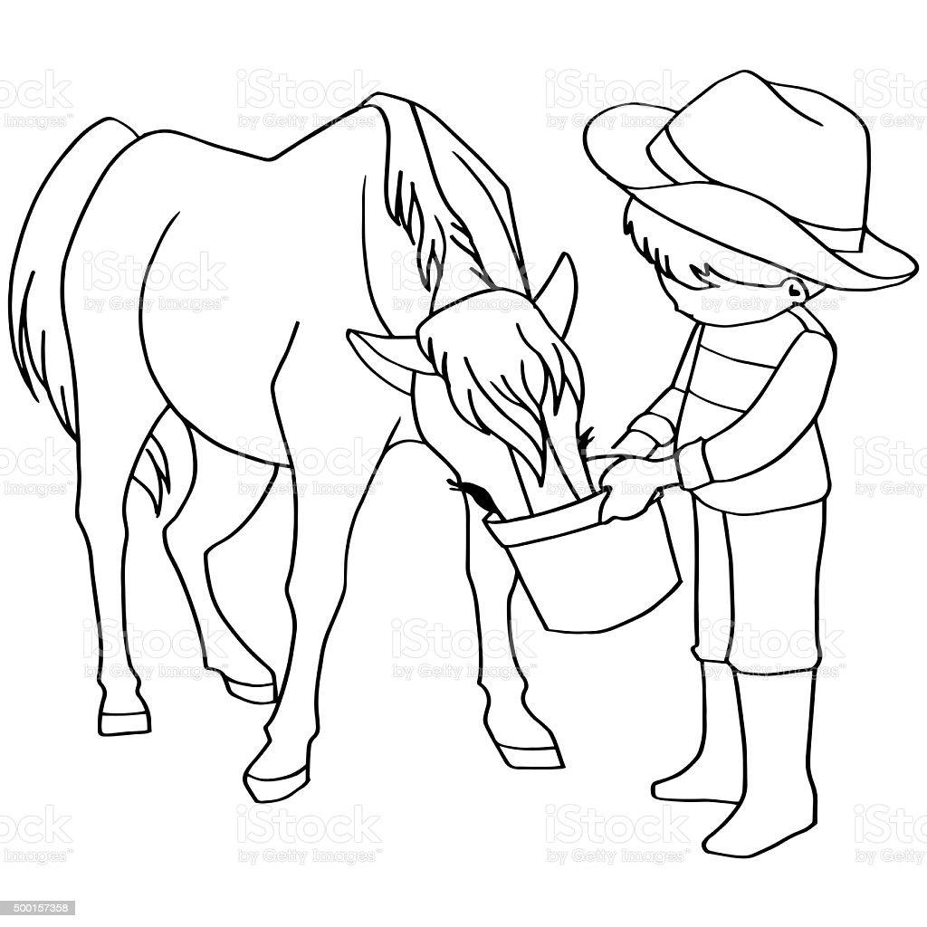 Coloring book child feeding horse vector stock photo