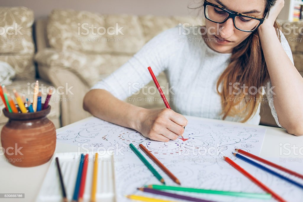 Coloring doodles stock photo