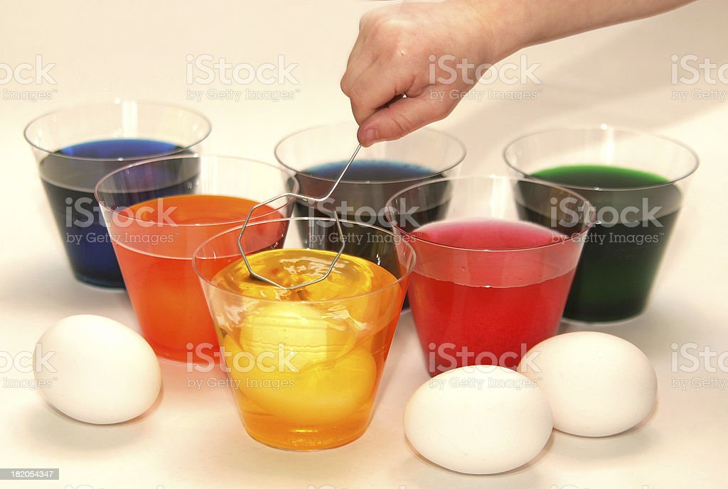 coloring easter eggs royalty-free stock photo