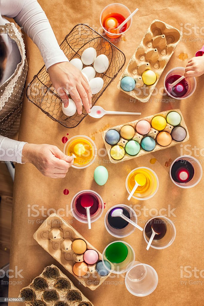 Coloring Easter Eggs with Natural Dye stock photo
