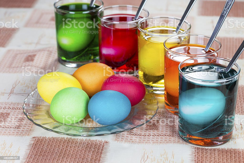 Coloring eggs for Easter holiday stock photo