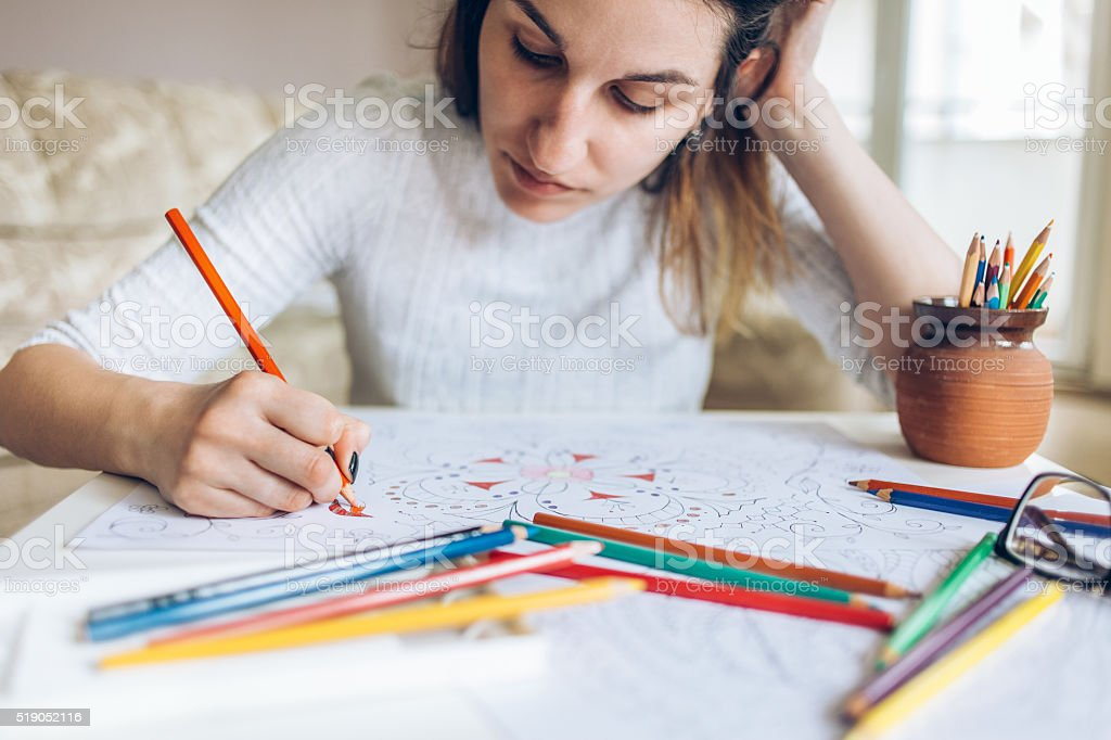 Coloring hobby stock photo