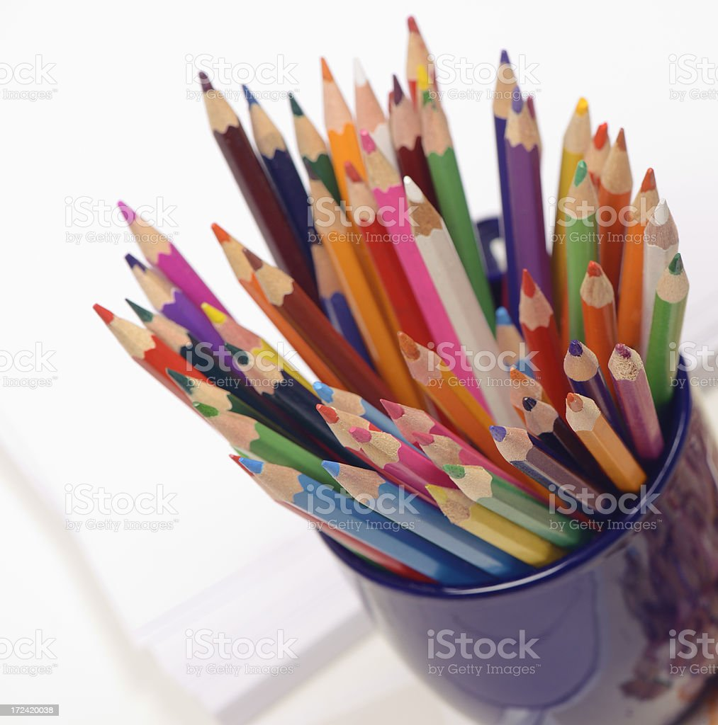 Coloring pencils in a mug royalty-free stock photo