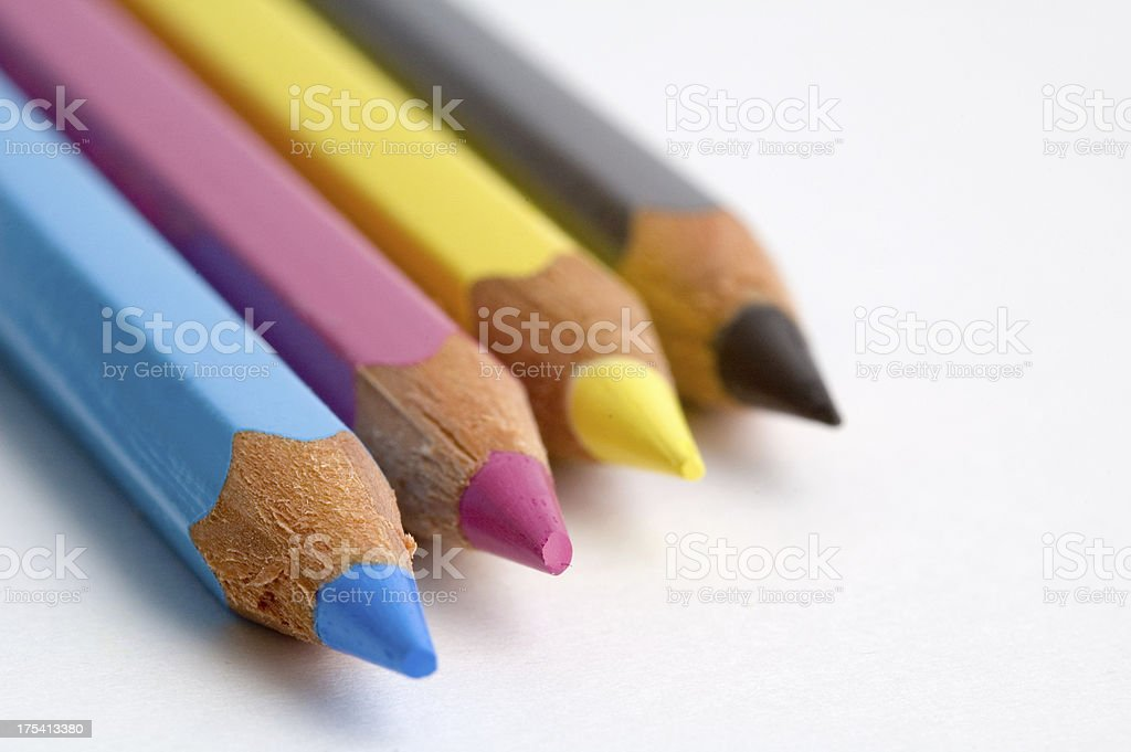 CMYK Coloring pencils royalty-free stock photo