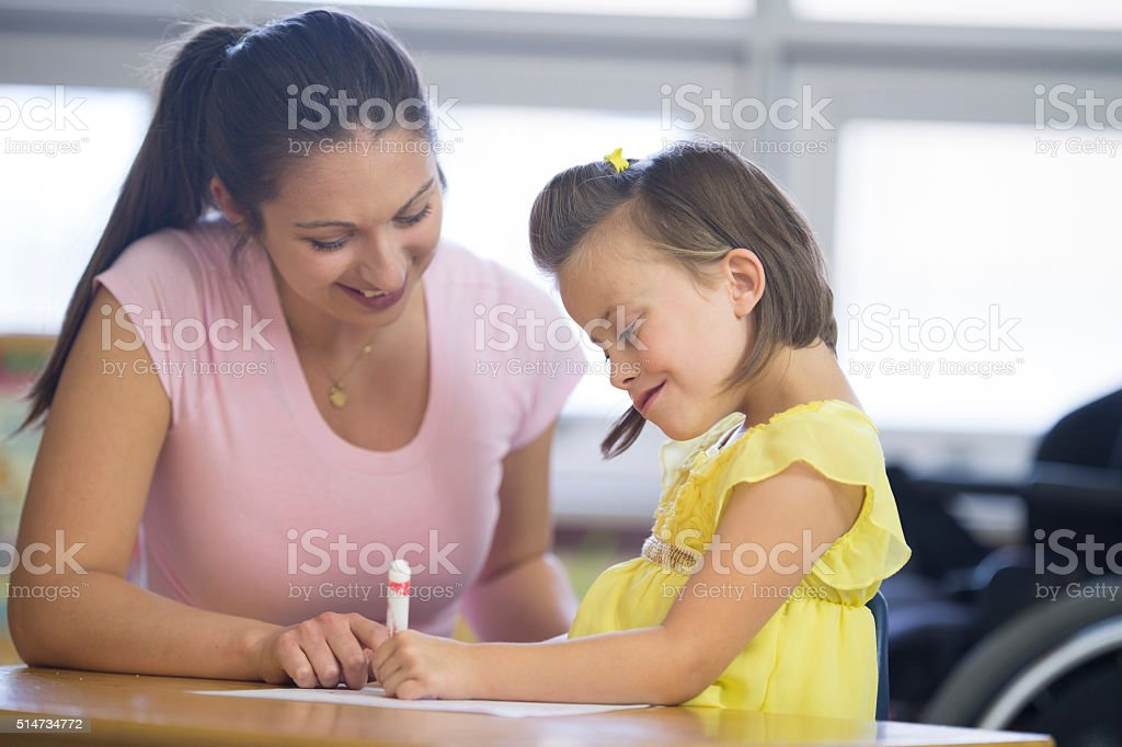 Coloring Together at School stock photo
