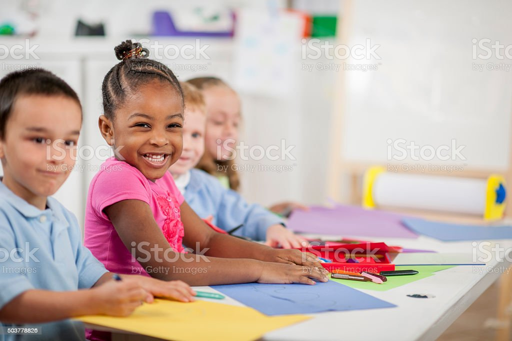 Coloring Together in Class stock photo
