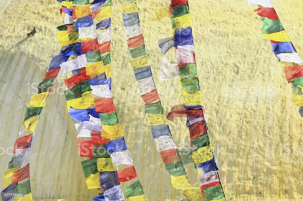 Colorist buddhist prayer flags. Boudhanath-Bodhnath stupa. Kathmandu-Nepal. 0320 royalty-free stock photo