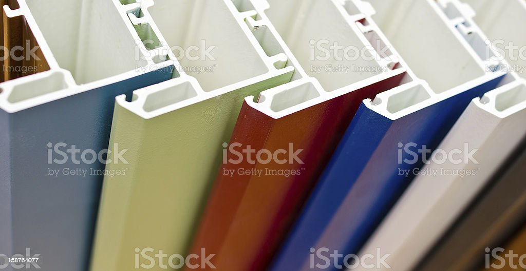 Colorized profile systems for windows and doors manufacturing royalty-free stock photo