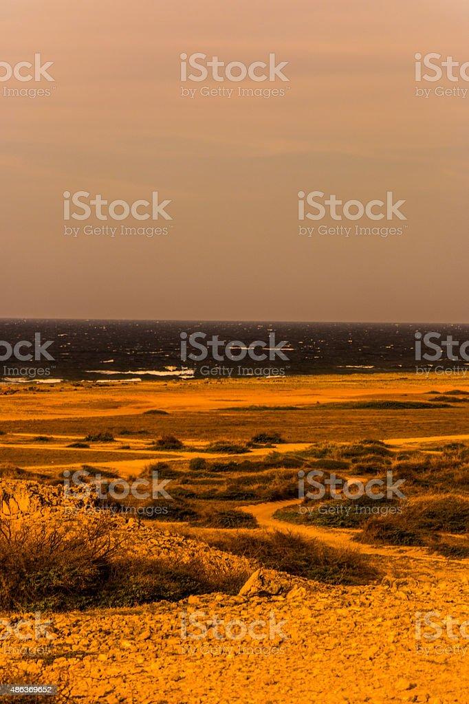 Colorized Rocky beach stock photo