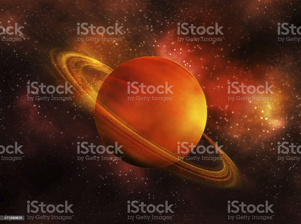 NASA colorized space view of Saturn in orange stock photo