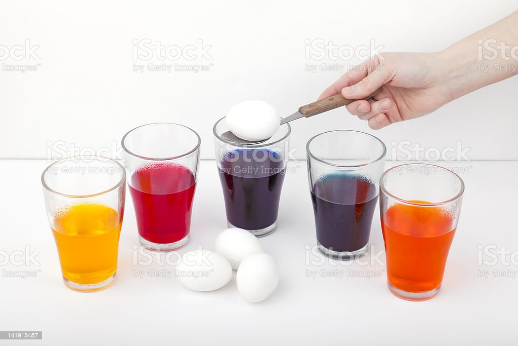 colorizing easter eggs royalty-free stock photo