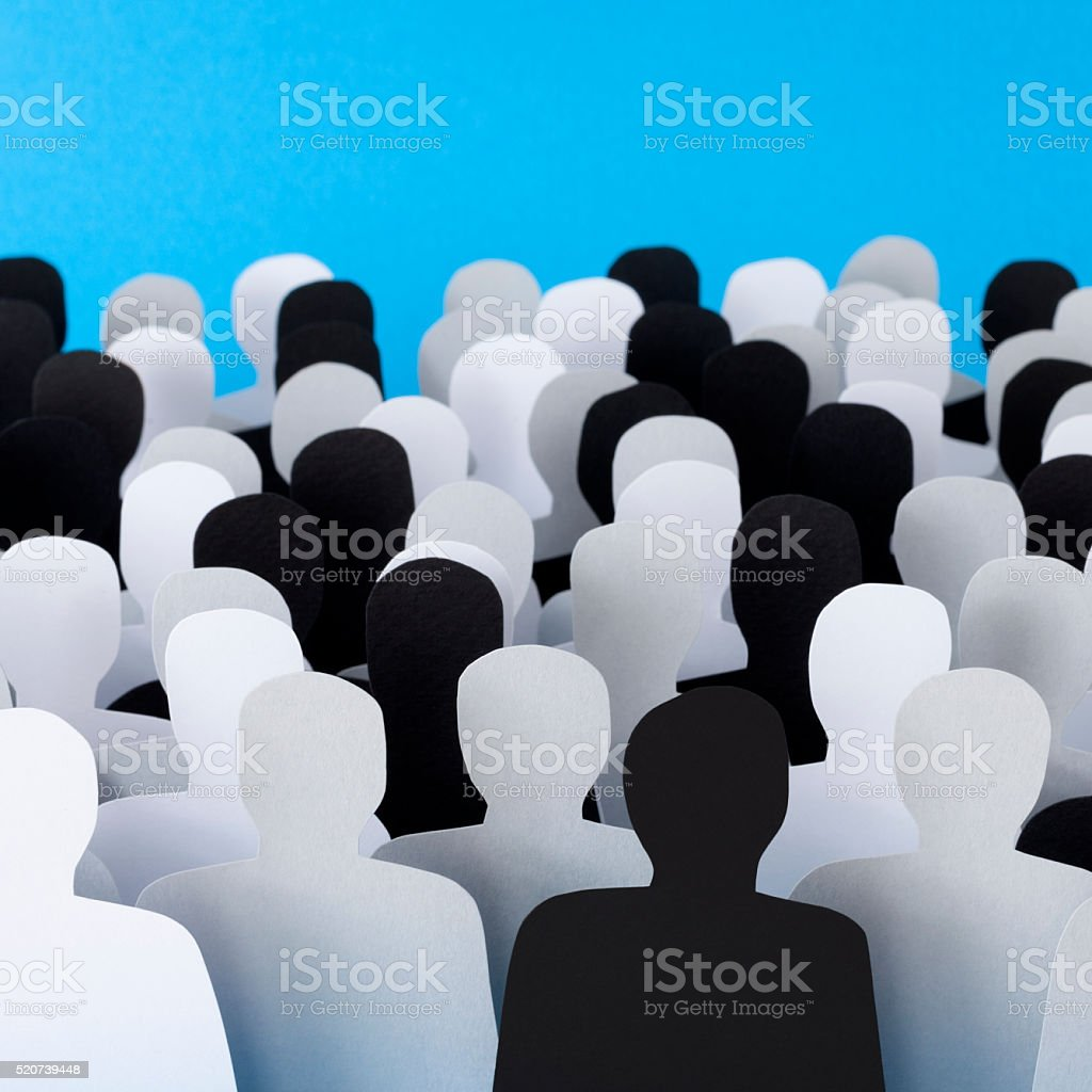 Colorless men crowd stock photo