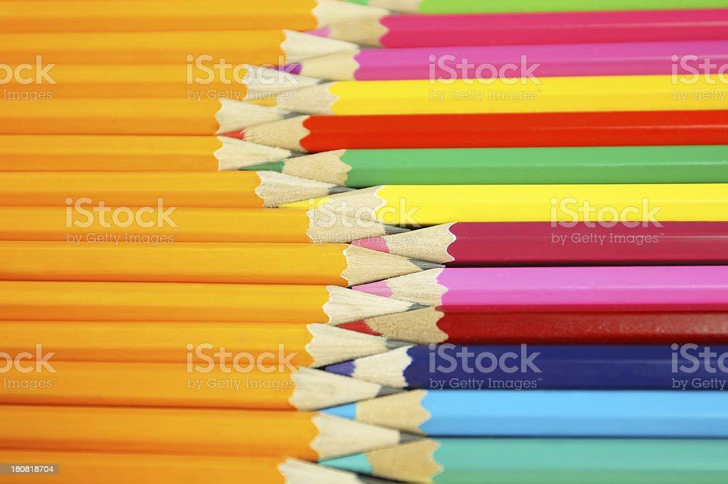 Colorpencils Vs. Pencils stock photo