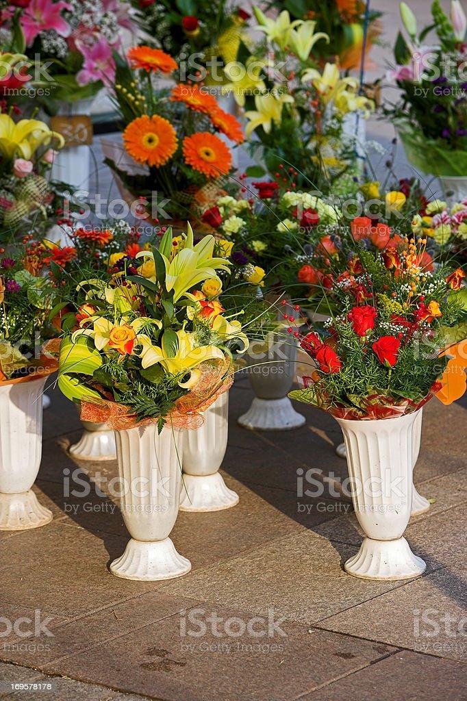 Colors - Flower market in Krakow, Poland royalty-free stock photo