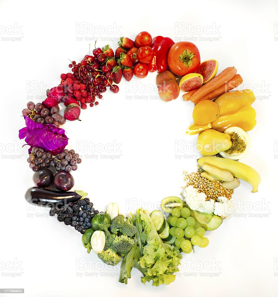 colors, fruits and vegetables stock photo