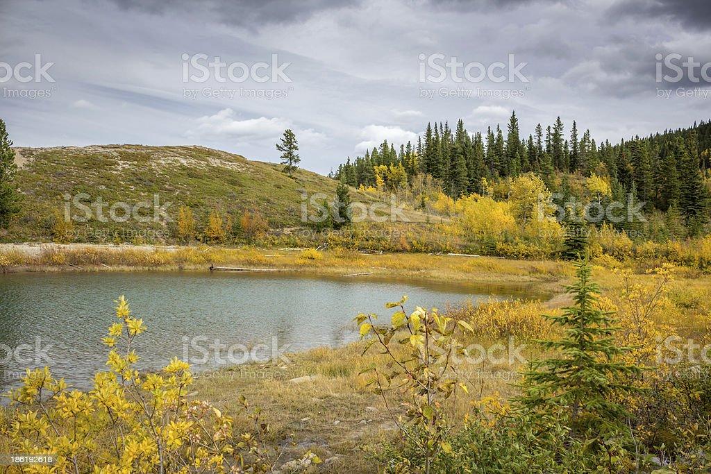 Colors of Fall Season at Kananaskis Lakes stock photo