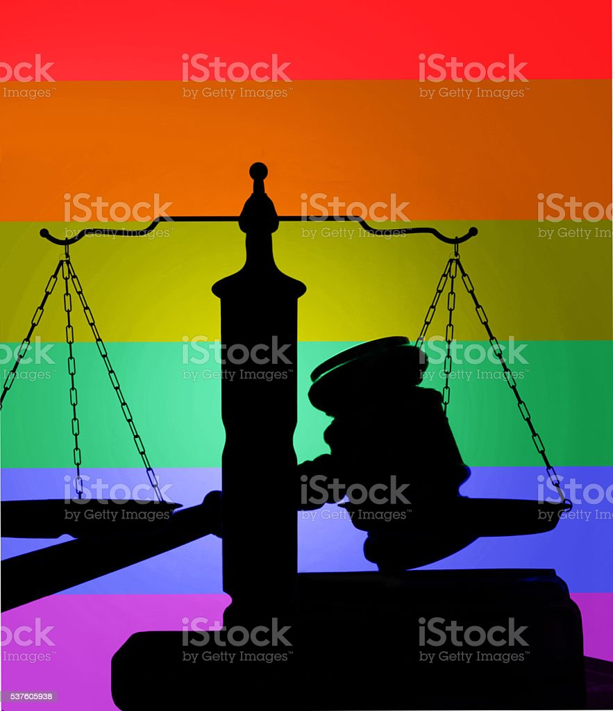 LGBT colors on gavel stock photo