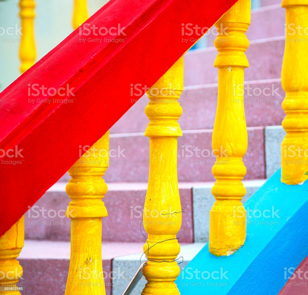 colors step rail  wat  palace phangan asia stock photo