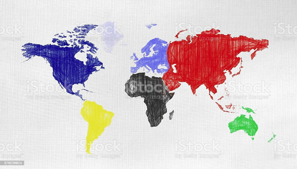 Colors World map on canvas background stock photo