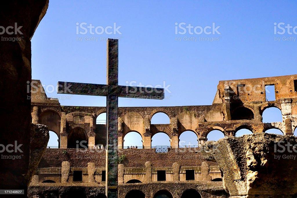 Coloseum Cross (Crucifix) stock photo