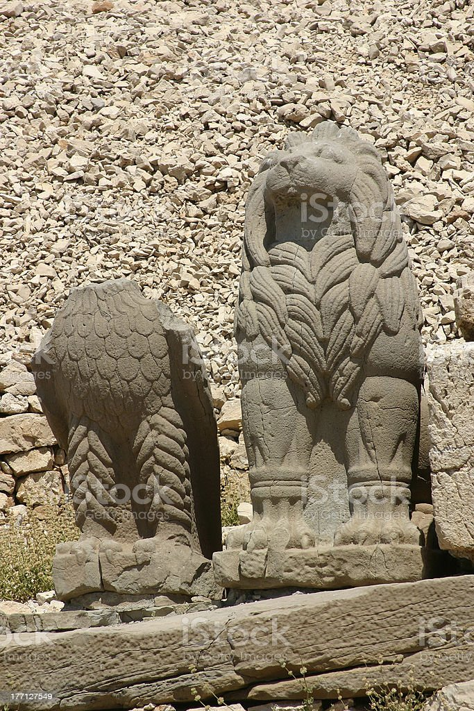 Colossal Statues at Mount Nemrut stock photo
