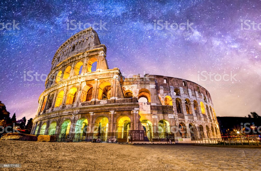 Colosseo roma coliseum colosseum rome no people exterior night milkyway stock photo
