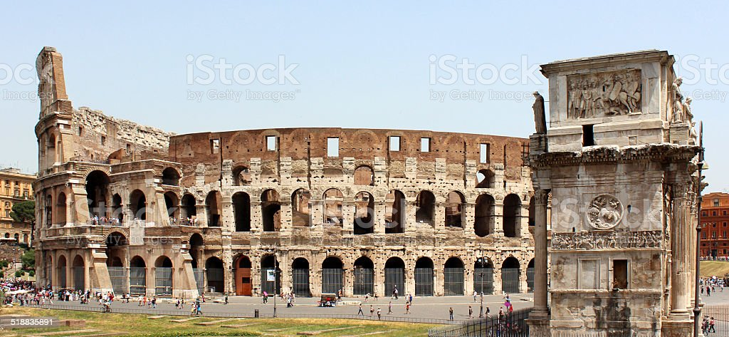 Colosseum and Arch of Constantine stock photo