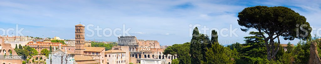 Colosseum and campanile, Rome royalty-free stock photo