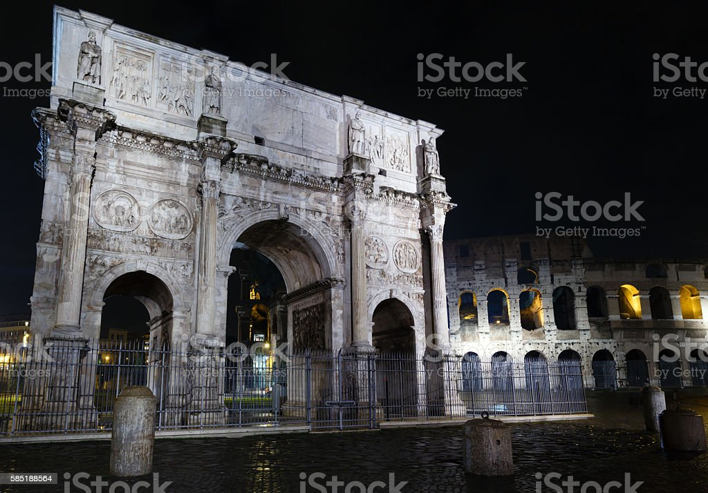 Colosseum and Constantine Arch night view, Rome. stock photo