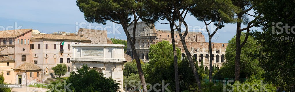 Colosseum and Forum, Rome royalty-free stock photo
