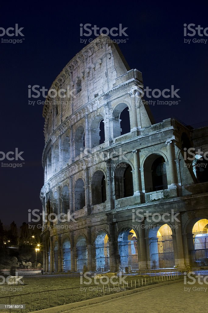 Colosseum at Night in Rome, Italy royalty-free stock photo
