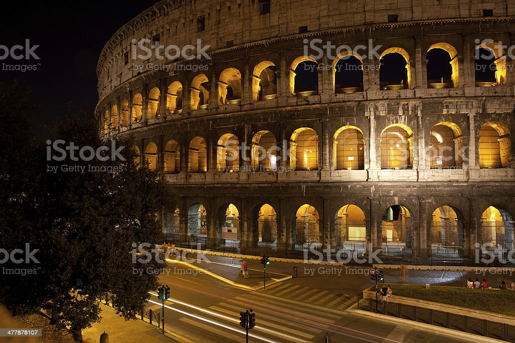 colosseum at night royalty-free stock photo