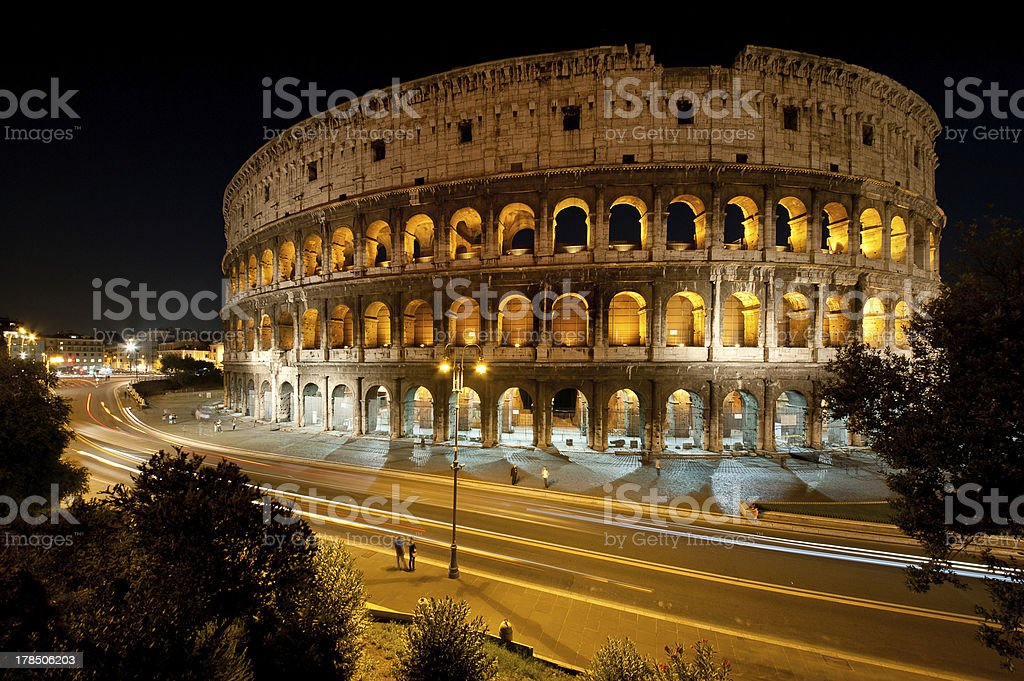Colosseum at Night, Rome, Italy royalty-free stock photo
