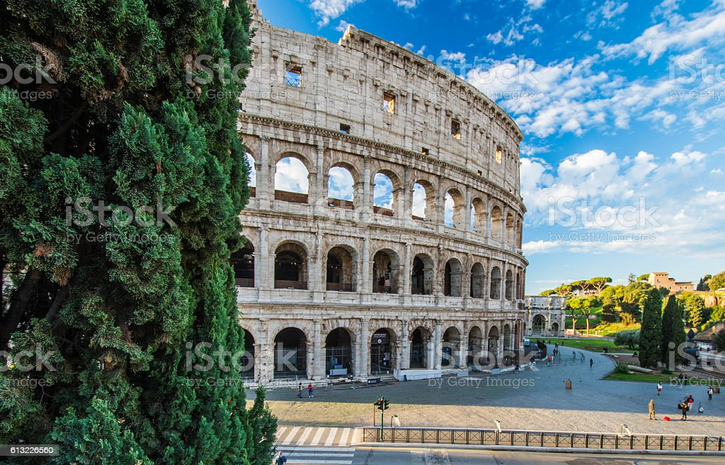 Colosseum at sunrise, Rome, Italy stock photo