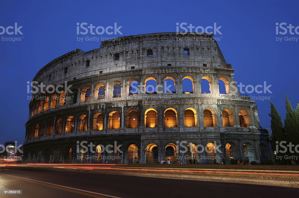 Colosseum by night royalty-free stock photo