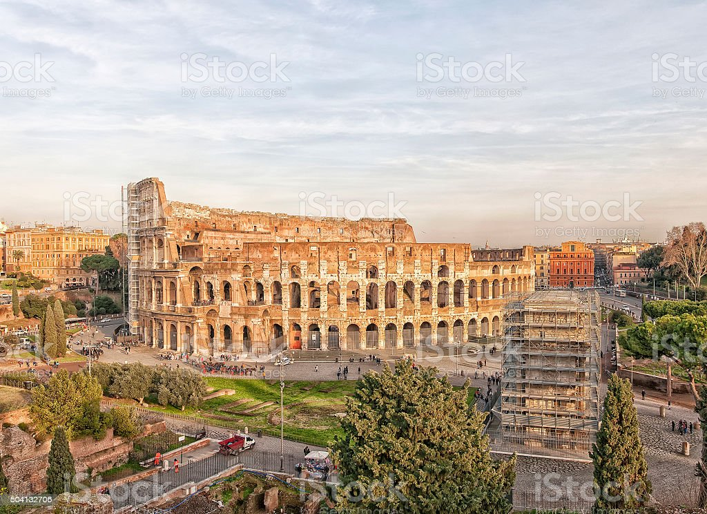 Colosseum from Palatine Hill stock photo