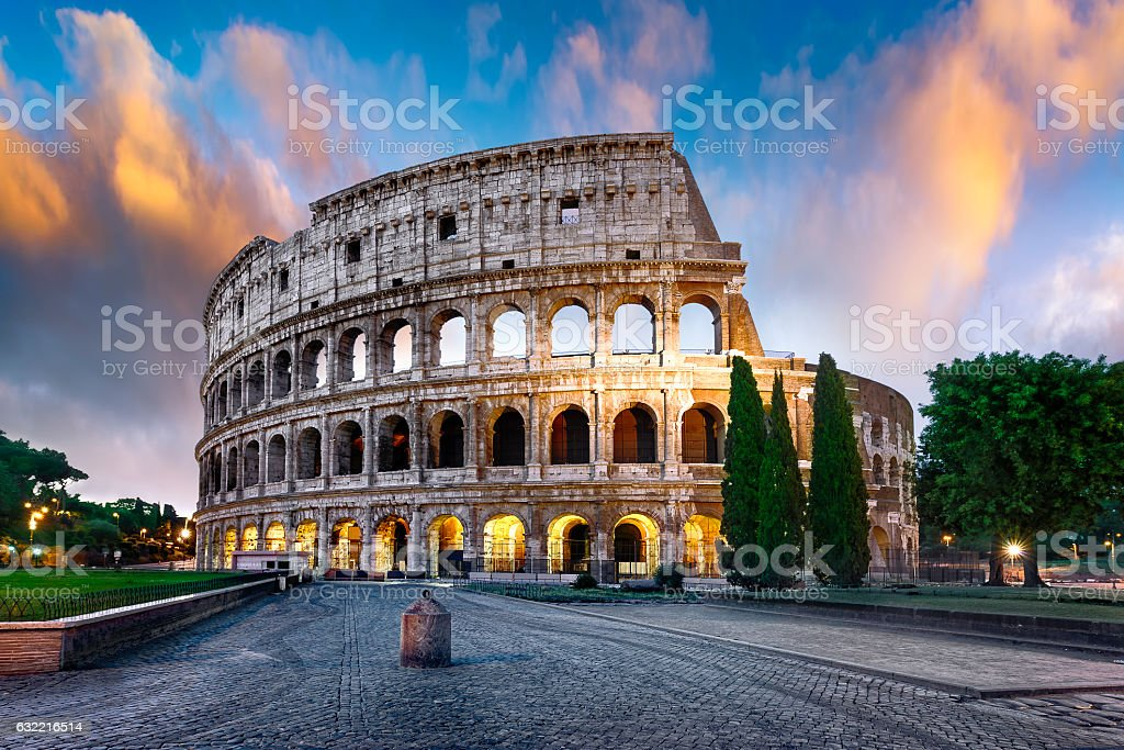 Colosseum in Rome at dusk, Italy stock photo