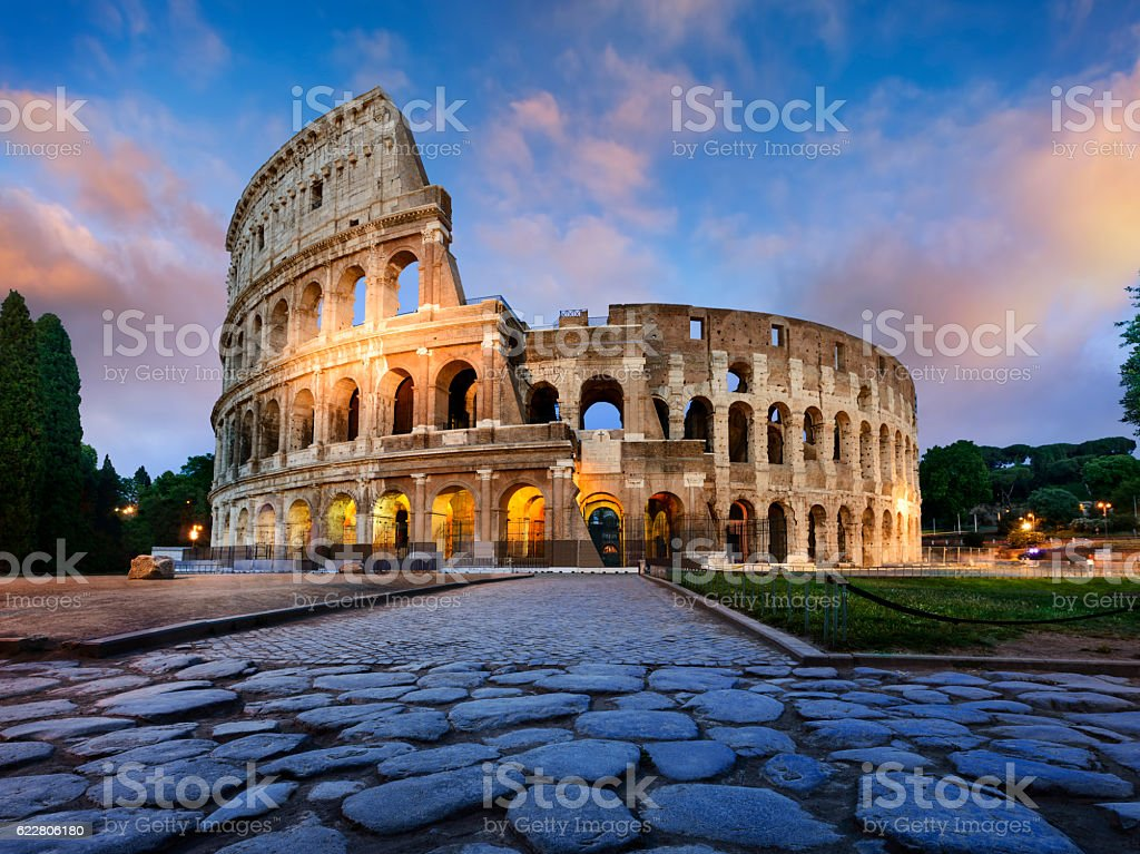 Colosseum in Rome at dusk stock photo